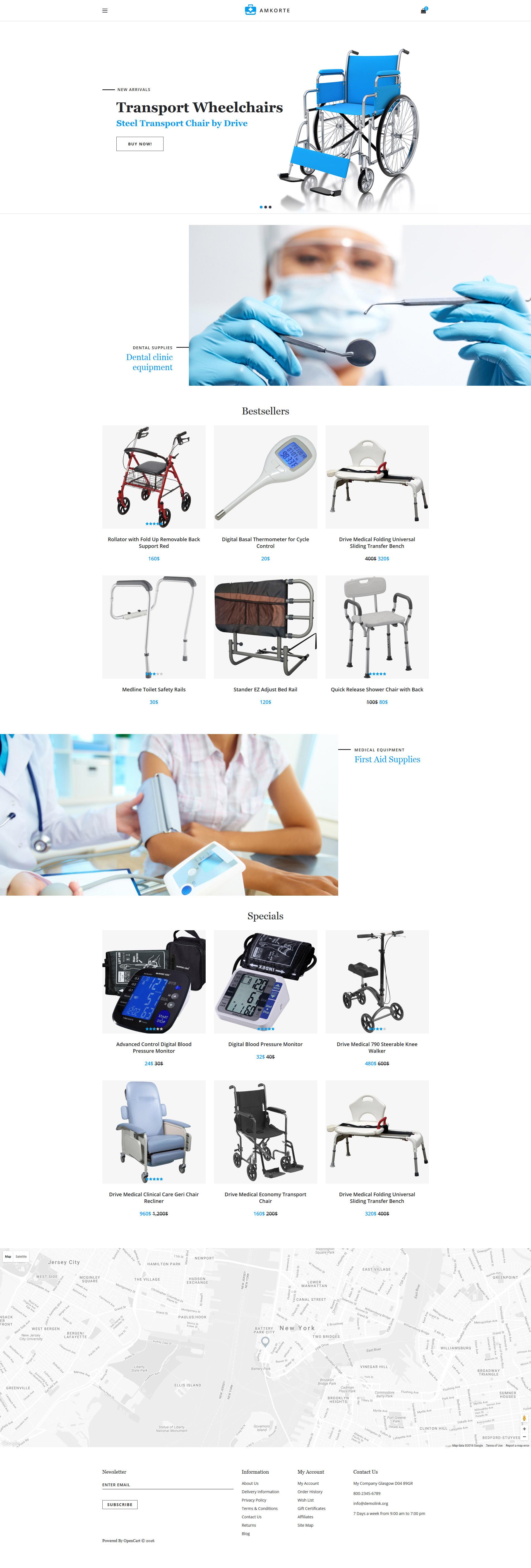 Amkorte - Medical Equipment Store OpenCart Template - screenshot