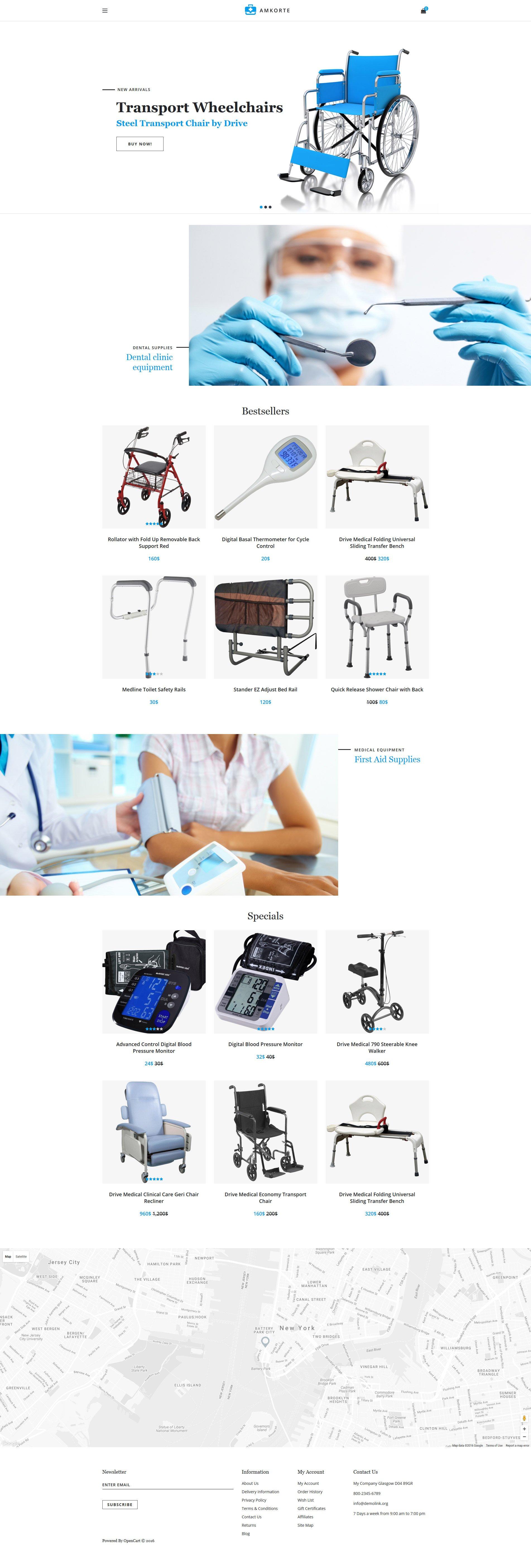 """Amkorte - Medical Equipment Store"" 响应式OpenCart模板 #61383 - 截图"