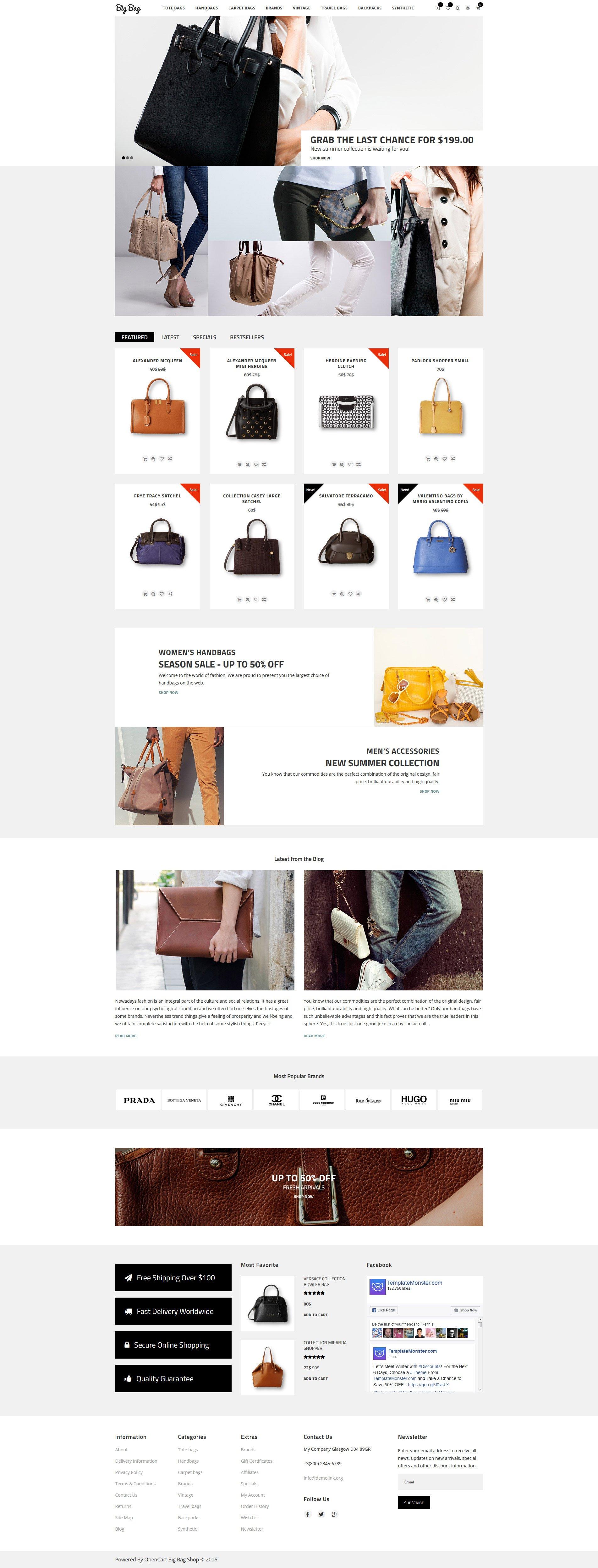 Big Bag - Handbag Store OpenCart Template - screenshot