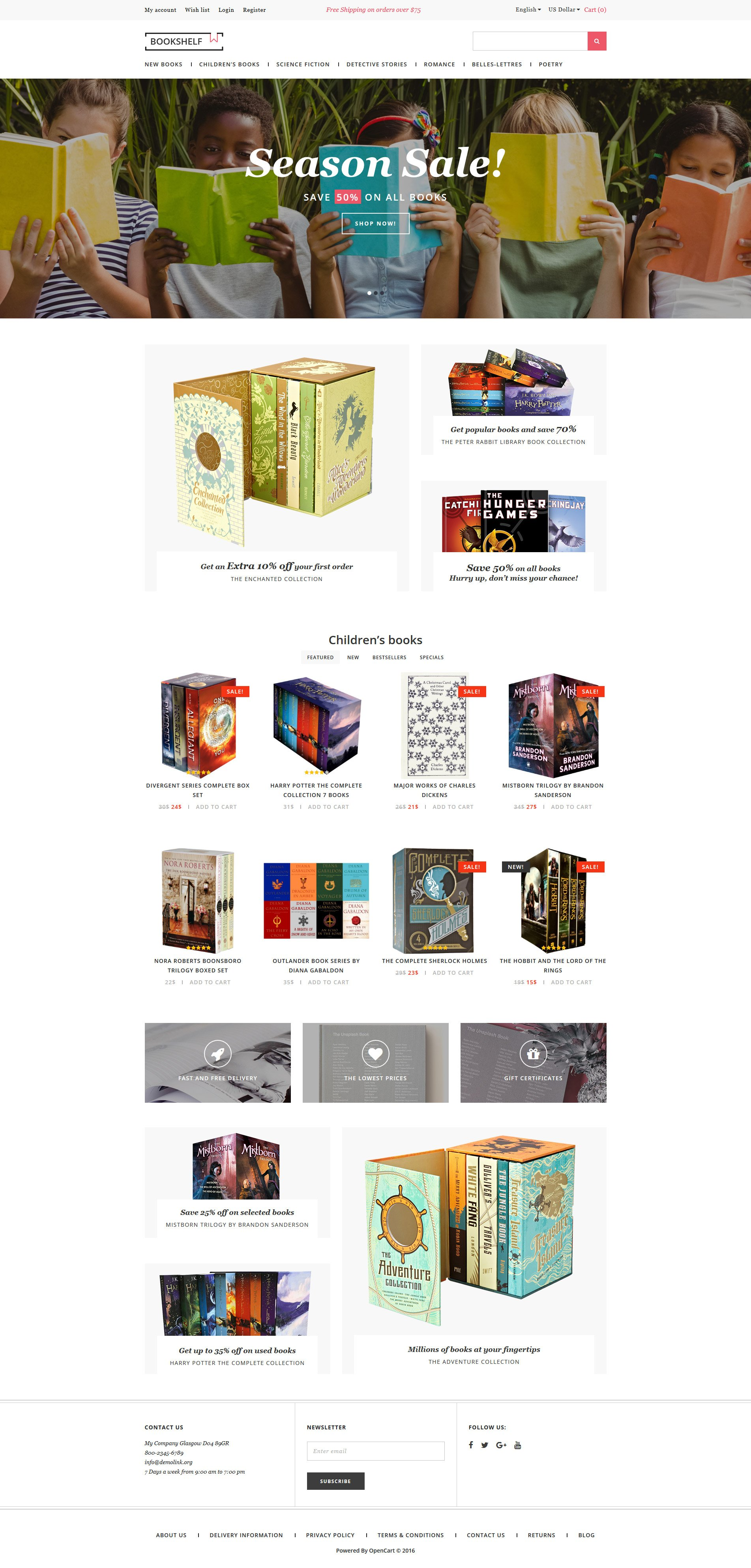 Book store opencart template for Opencart bookstore template