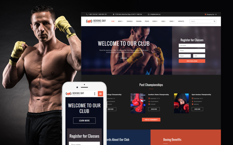 Boxing Day - Boxing Lifestyle Club Responsive Website Template New Screenshots BIG