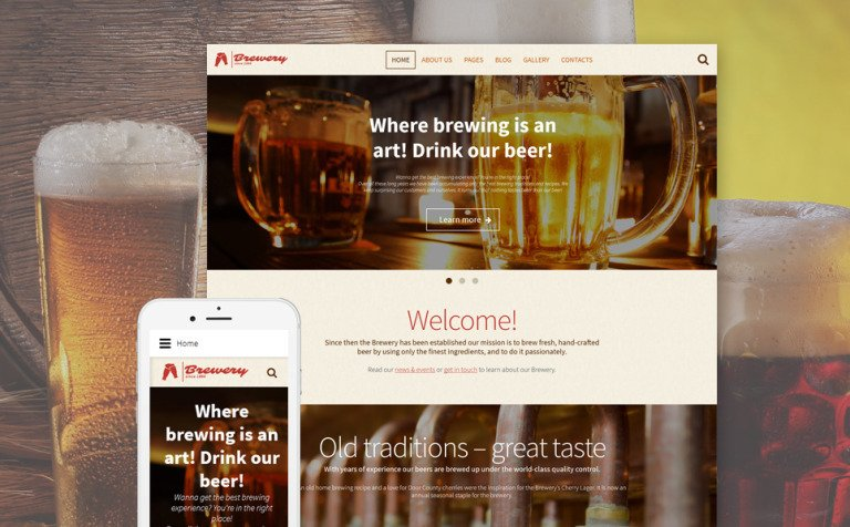 Brewery - Brewhouse Responsive Joomla Template Big Screenshot