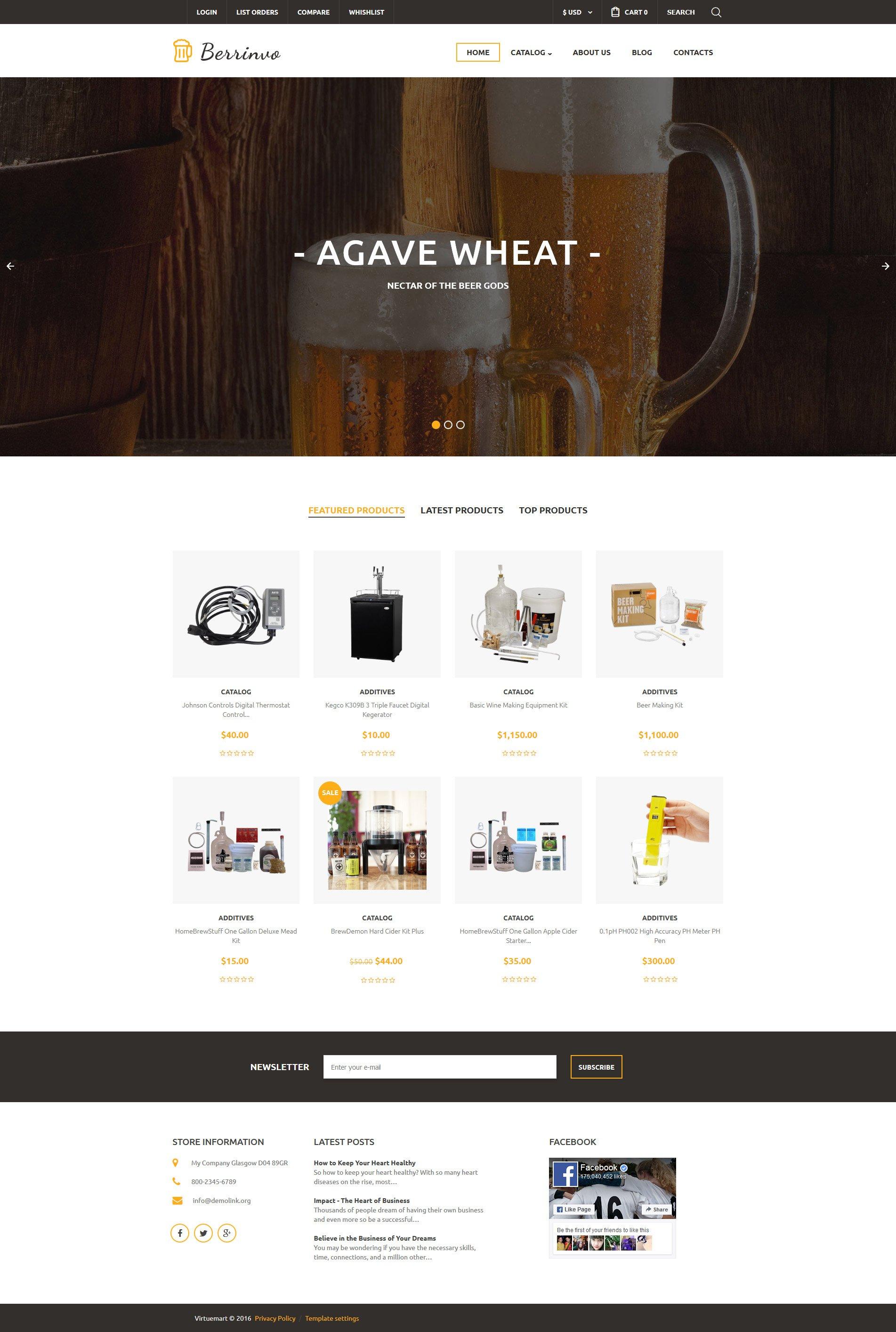 Brewery VirtueMart Template - screenshot