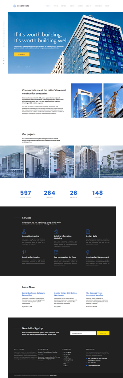 Constructo - Architecture & Construction Company Responsive Website Template - screenshot