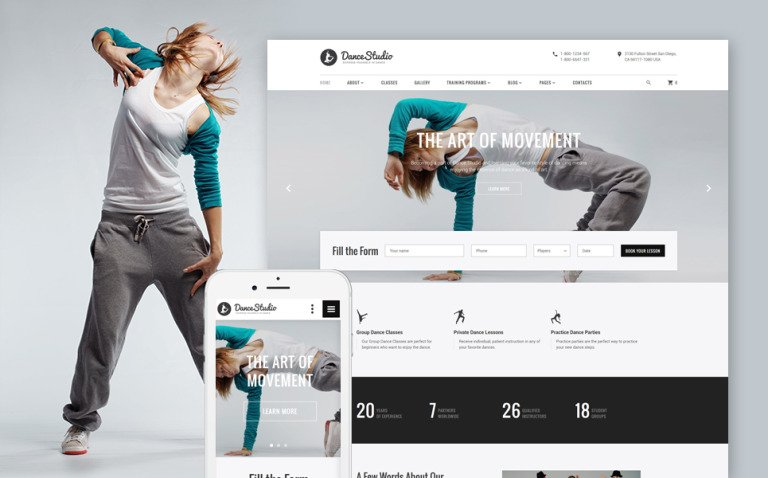 DanceStudio - Dance Coach Responsive Website Template New Screenshots BIG