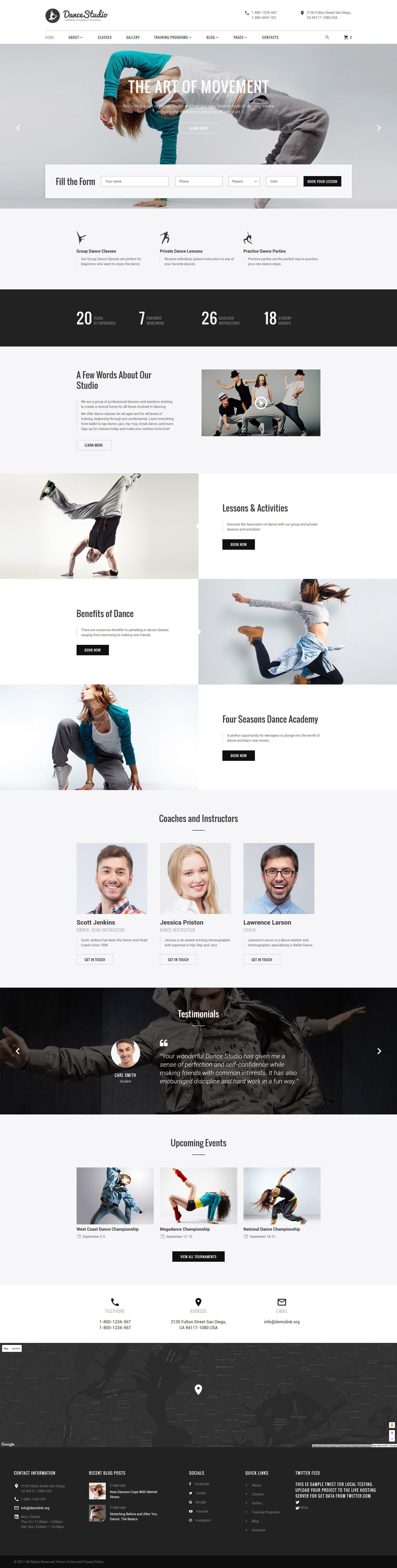 DanceStudio - Dance Coach Responsive Website Template