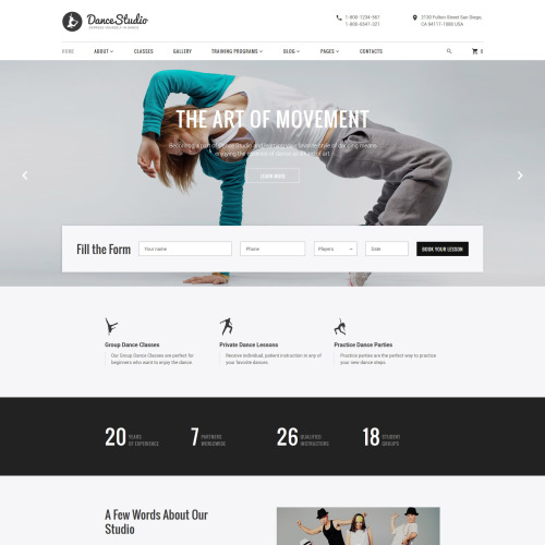 Dancestudio - Dancing Studio Website Template