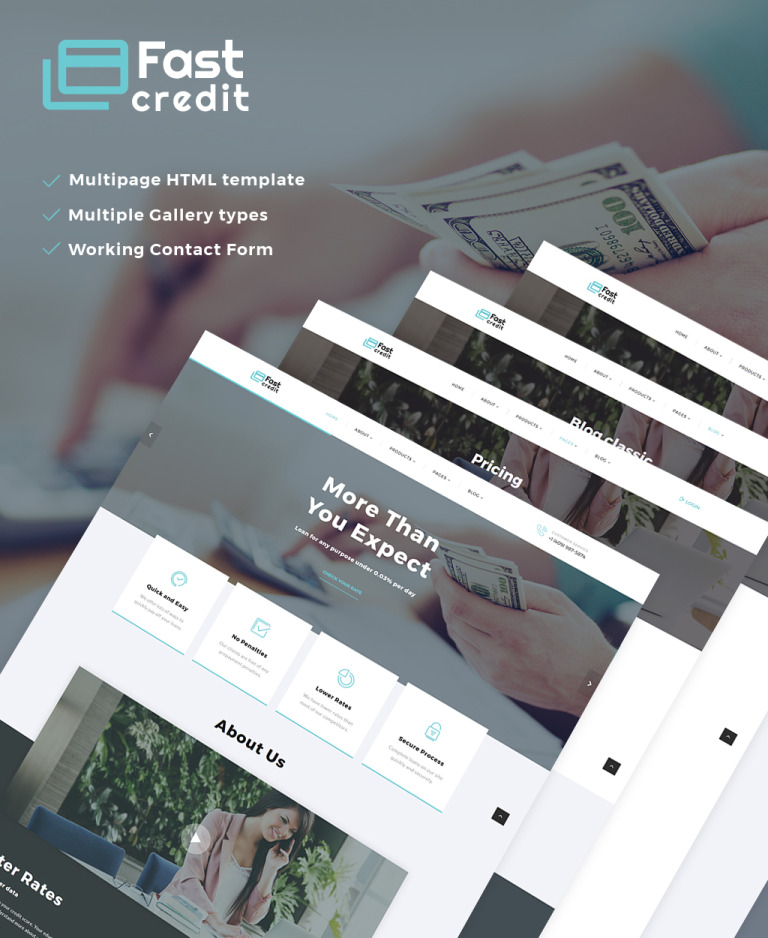 FastCredit - Mortgage Solutions Multipage Website Template Big Screenshot
