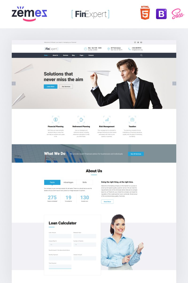 Financial Advisor Responsive Website Template - screenshot