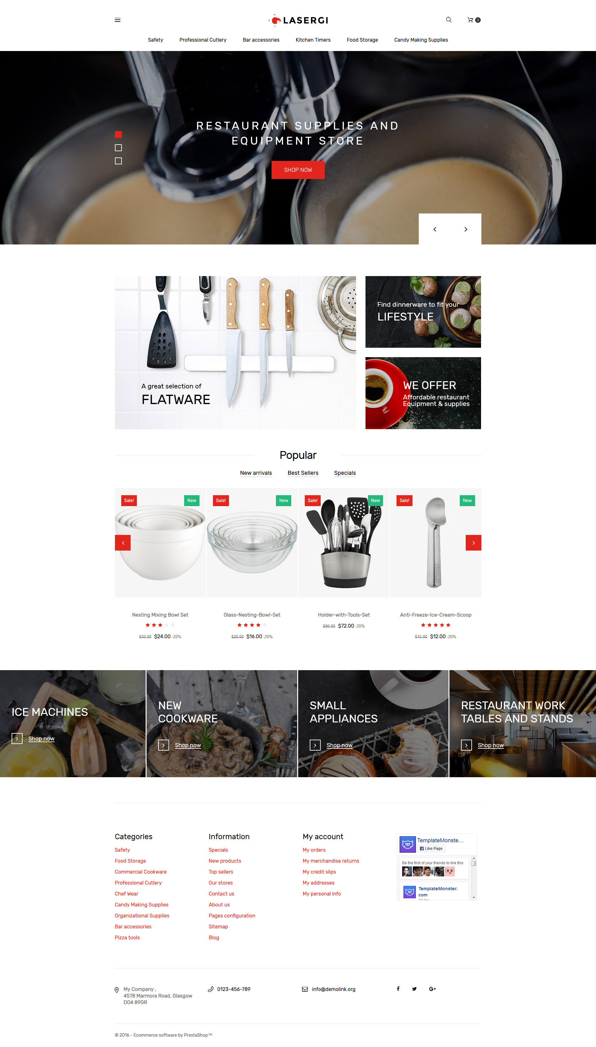 """Glasergi - Cookware & Appliances"" - адаптивний PrestaShop шаблон №61353"