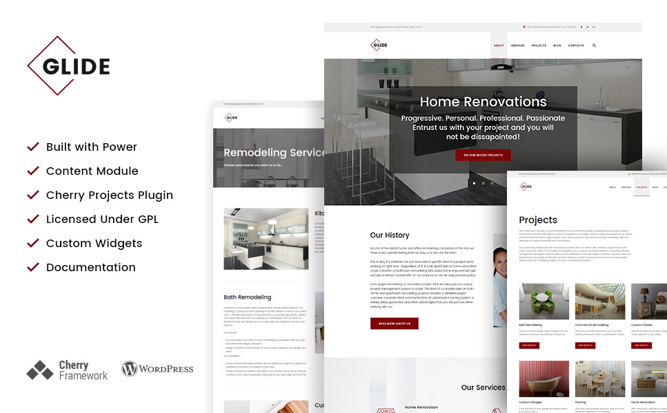 Glide - Home, Bath and Kitchen Renovation Company WordPress Theme New Screenshots BIG