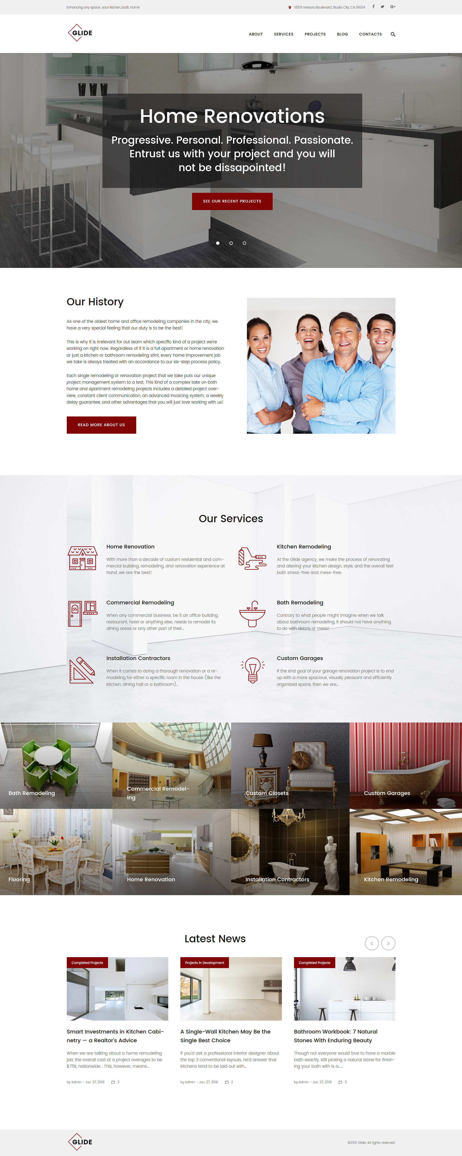 Glide - Home, Bath and Kitchen Renovation Company WordPress Theme - screenshot
