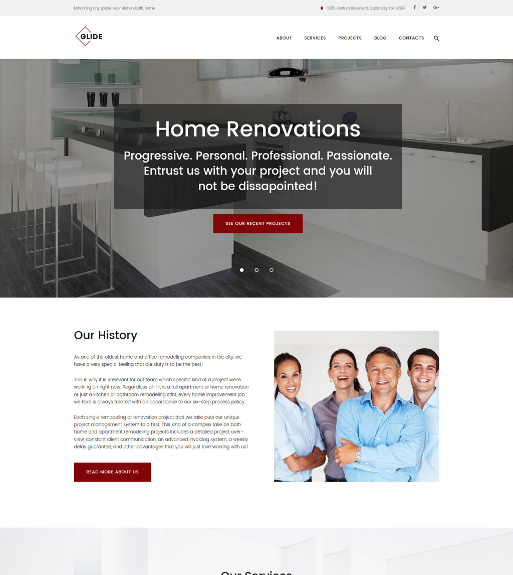 Glide Home Bath And Kitchen Renovation Company Wordpress Theme