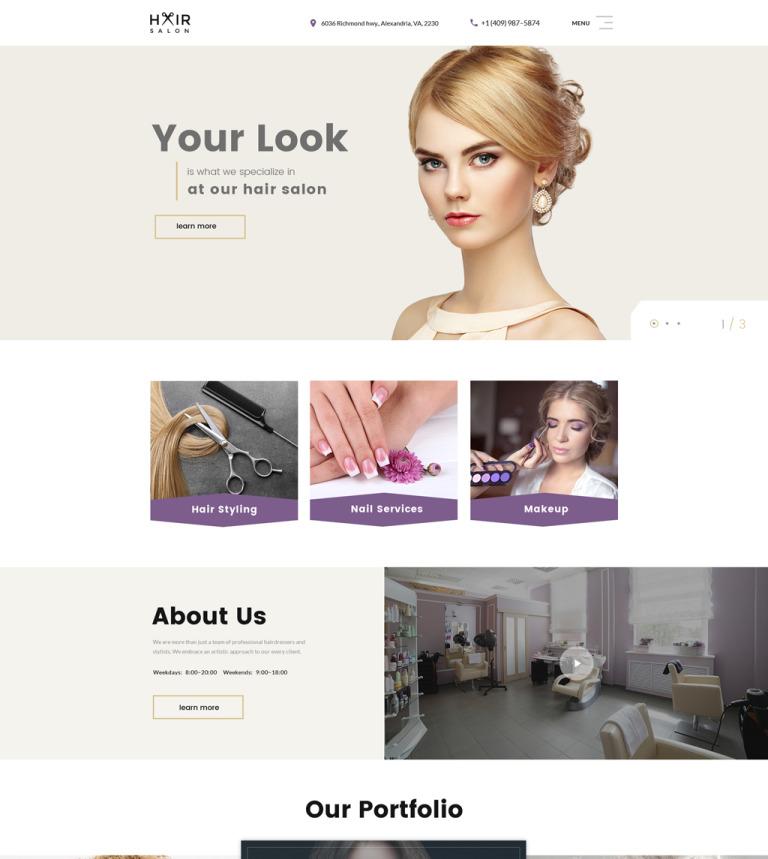 Hair Salon Multipage Website Template