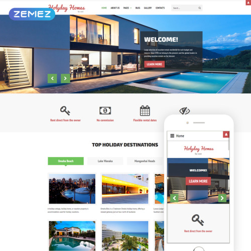 Holiday Homes - Joomla! Template based on Bootstrap