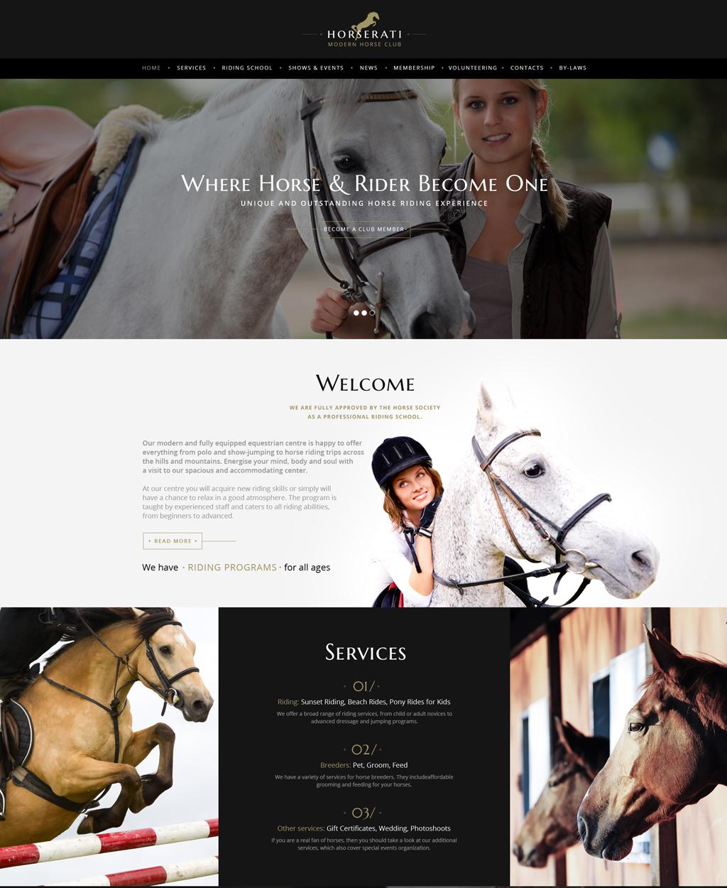 """Horserati - Horse Club Multipage"" - адаптивний Шаблон сайту №61369"