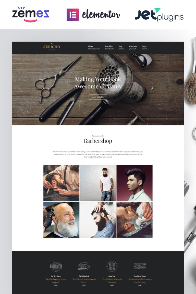 Jericho - Barber Shop Modern WordPress Theme New Screenshots BIG