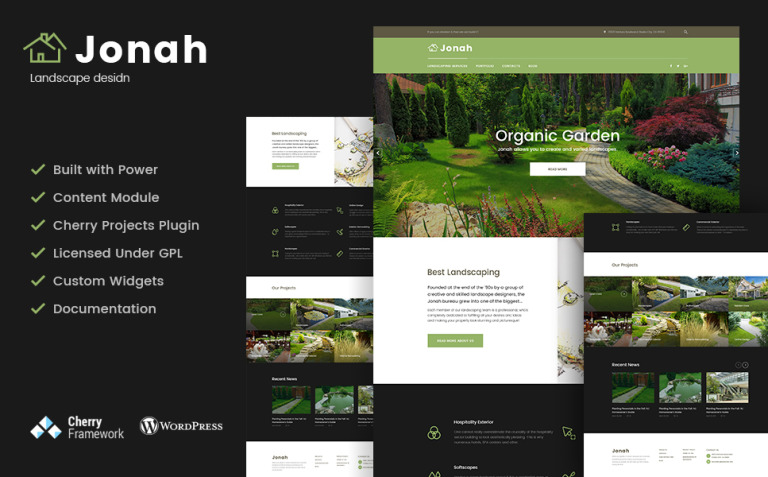 Jonah - Landscape Design and Lawn Mowing WordPress Theme New Screenshots BIG