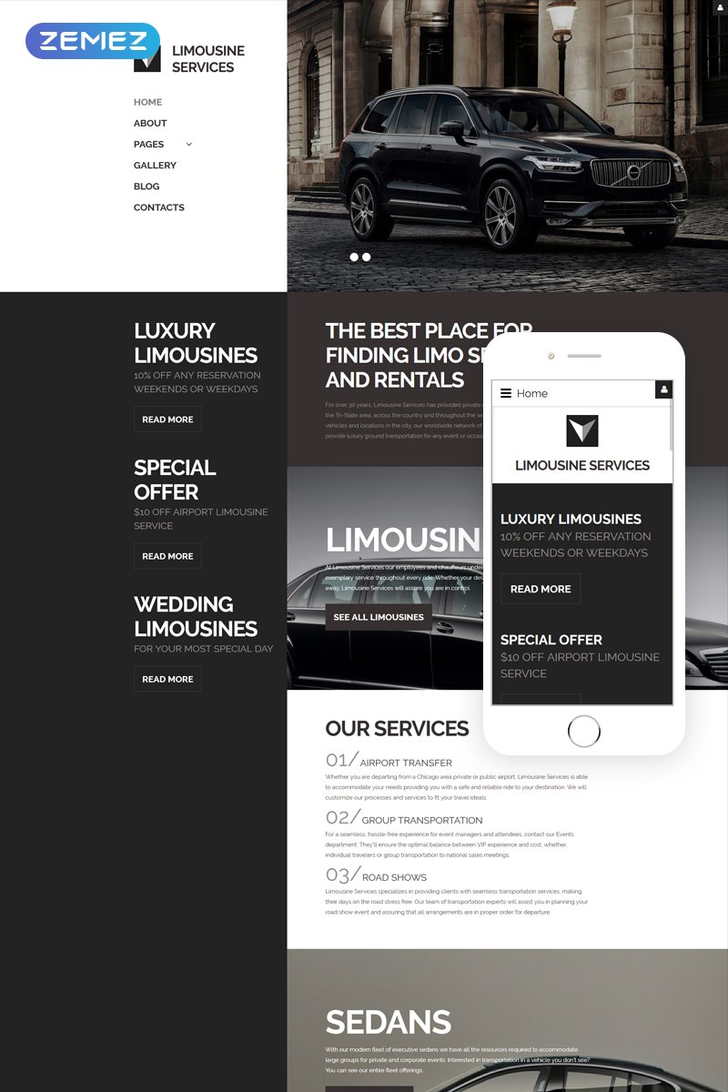 """Limousine Services - Luxury Car Services Responsive"" 响应式Joomla模板 #61331"