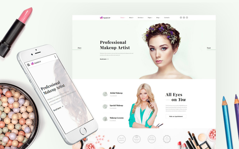 Makeup Artist & Cosmetics Responsive Website Template New Screenshots BIG