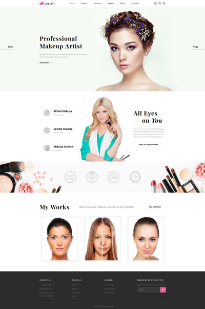 Makeup Artist & Cosmetics Responsive Website Template #61316