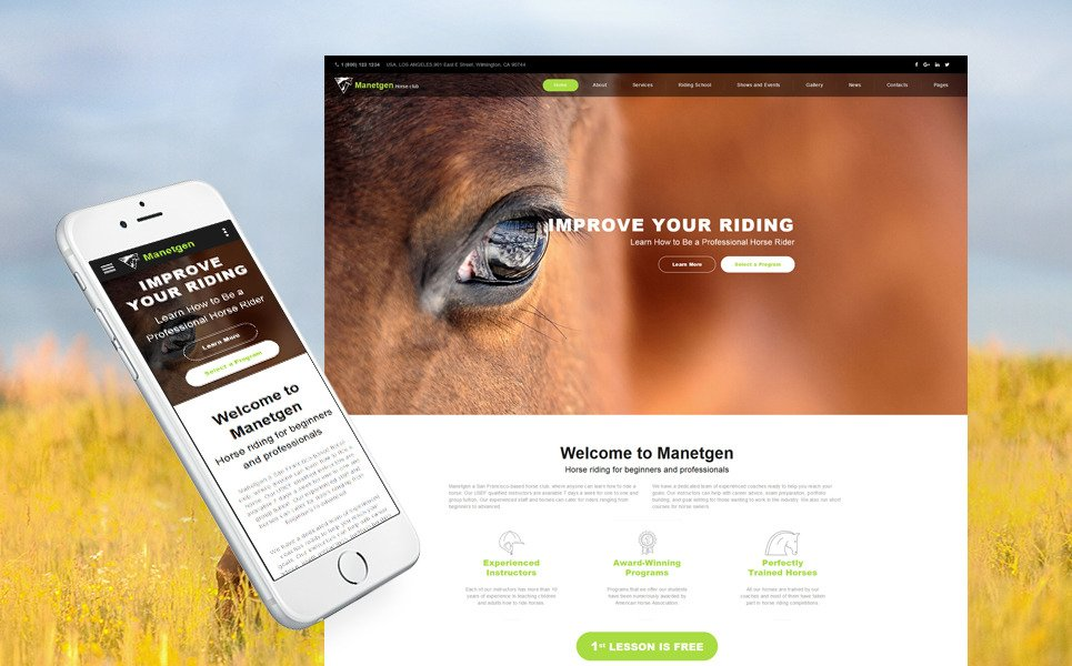 Manetgen - Horse Riding Responsive Multipage Website Template New Screenshots BIG