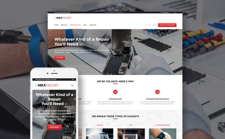 MaxGadget - Computer Maintenance & Electronics Repair WordPress Theme New Screenshots BIG