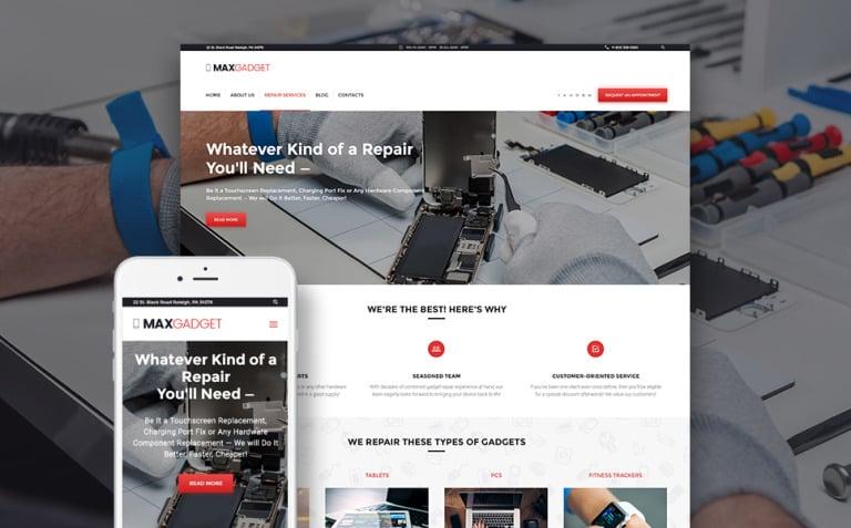 MaxGadget - Computer Maintenance & Electronics Repair WordPress Theme New Screenshots BIG