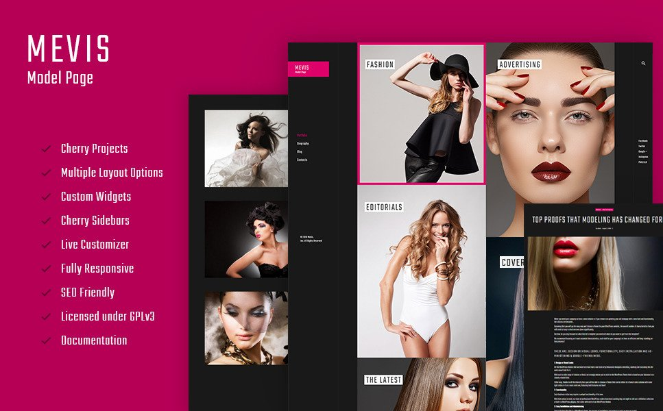 Mevis - Model Personal Page Photography WordPress Theme New Screenshots BIG