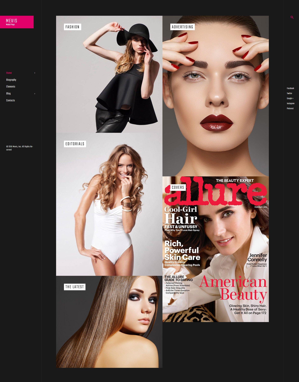 Mevis - Model Personal Page Photography WordPress Theme - screenshot