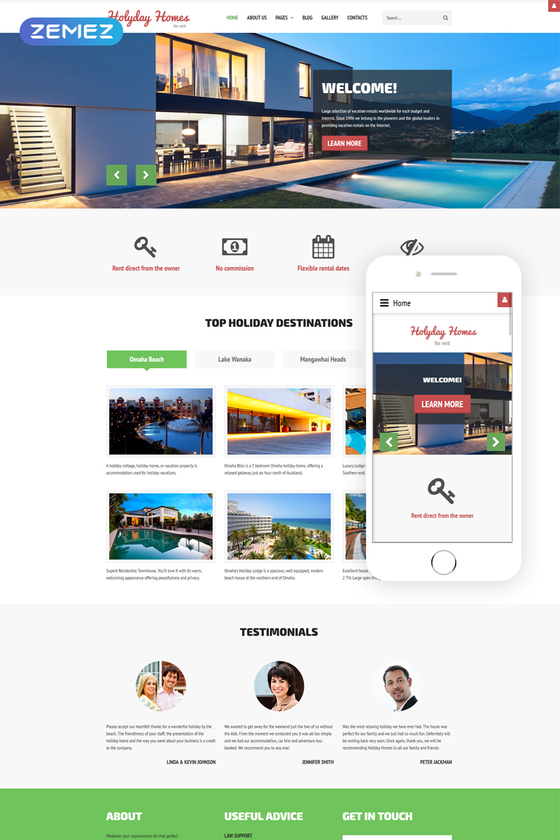 "Modello Joomla Responsive #61313 ""Holiday Homes - Real Estate Multipage Clean"""