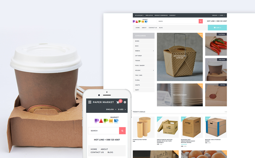Paper Market - Opencart шаблон для магазина упаковок