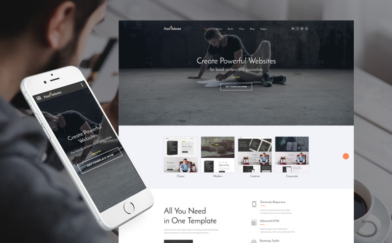 Paul Adams - Writer Website Template