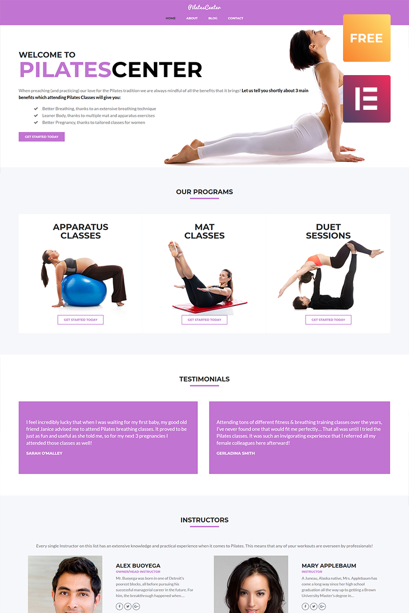 Pilates Center - Sports, Fitness & Yoga WordPress Theme - screenshot