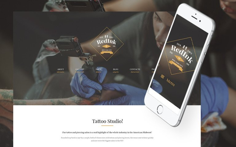 RedInk - Tattoo Salon WordPress Theme New Screenshots BIG