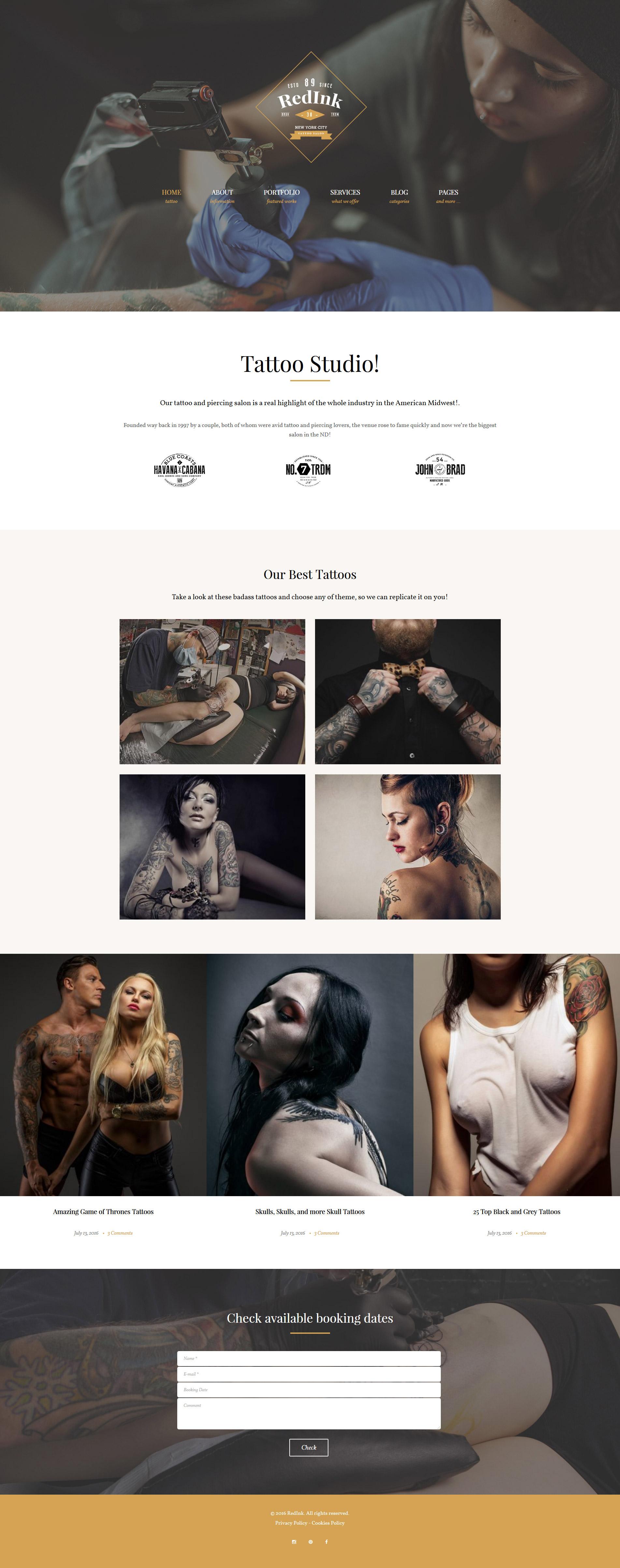 """RedInk - Tattoo Salon"" 响应式WordPress模板 #61376"