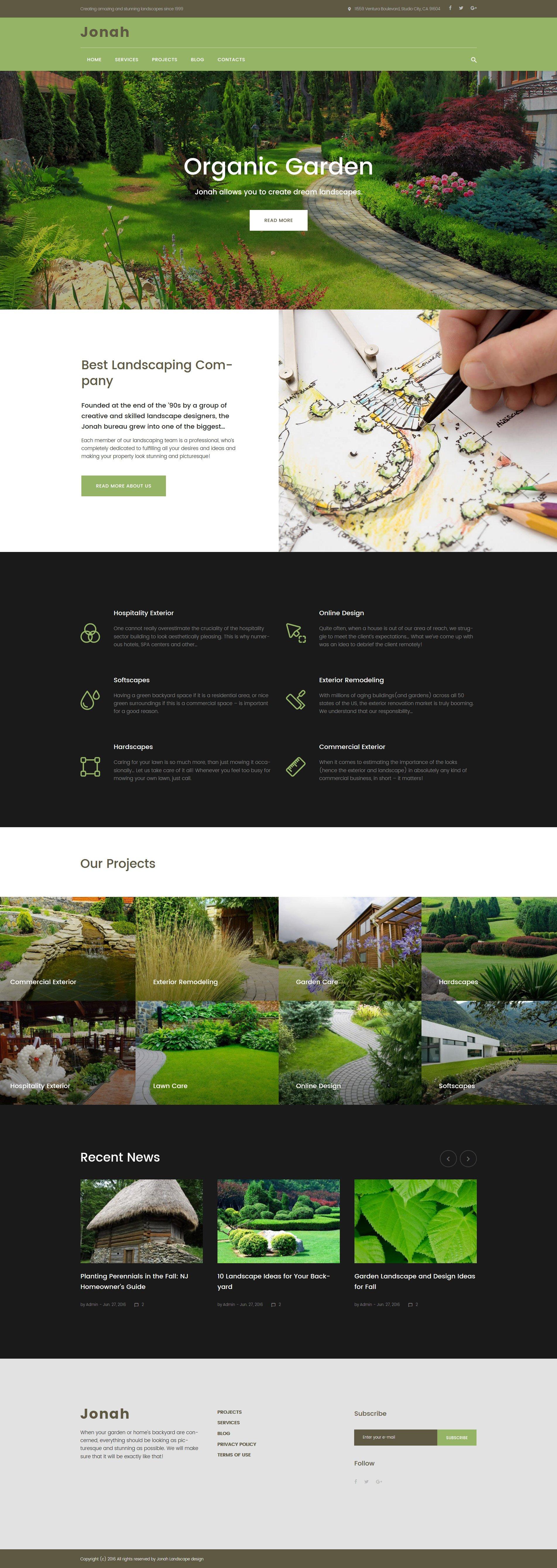 Responsivt Jonah - Landscape Design and Lawn Mowing WordPress-tema #61319