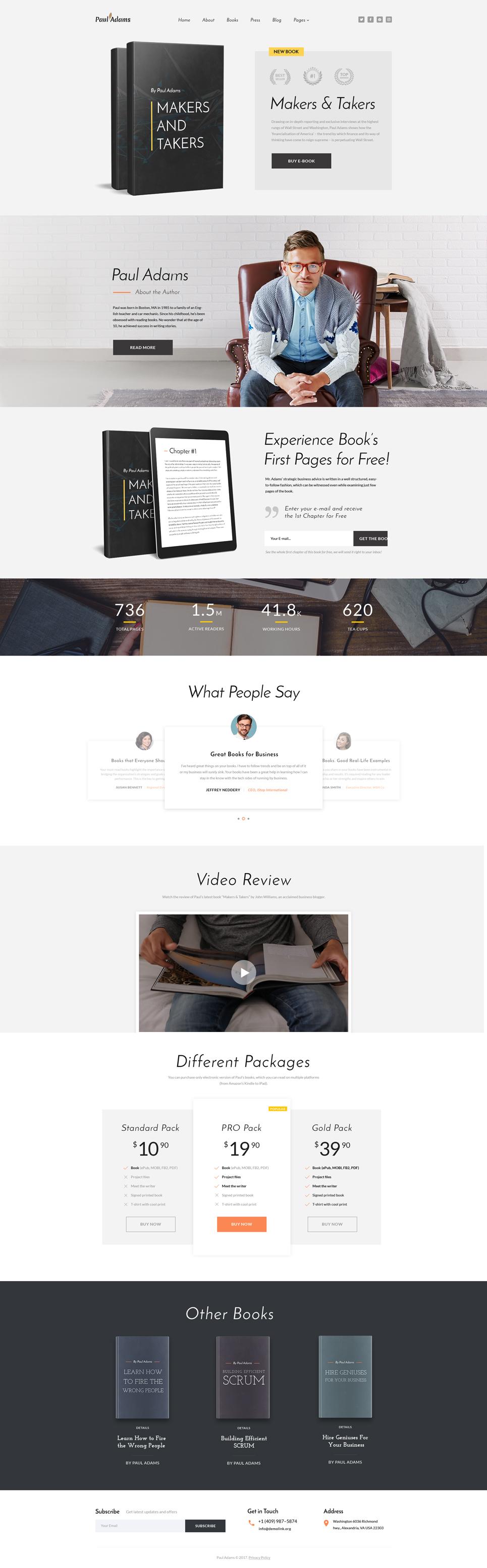 Responsivt Paul Adams - Writer Multipage Creative HTML Hemsidemall #61351