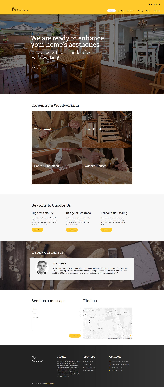Responsivt Smartwood - Carpentry & Woodworking WordPress-tema #61365