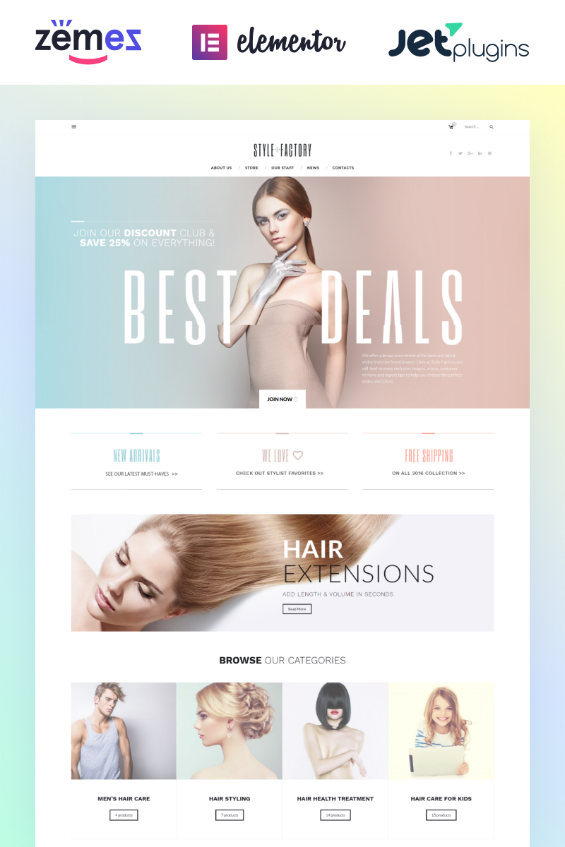 Responsivt Style Factory - Hair Care & Hair Styling WooCommerce-tema #61305
