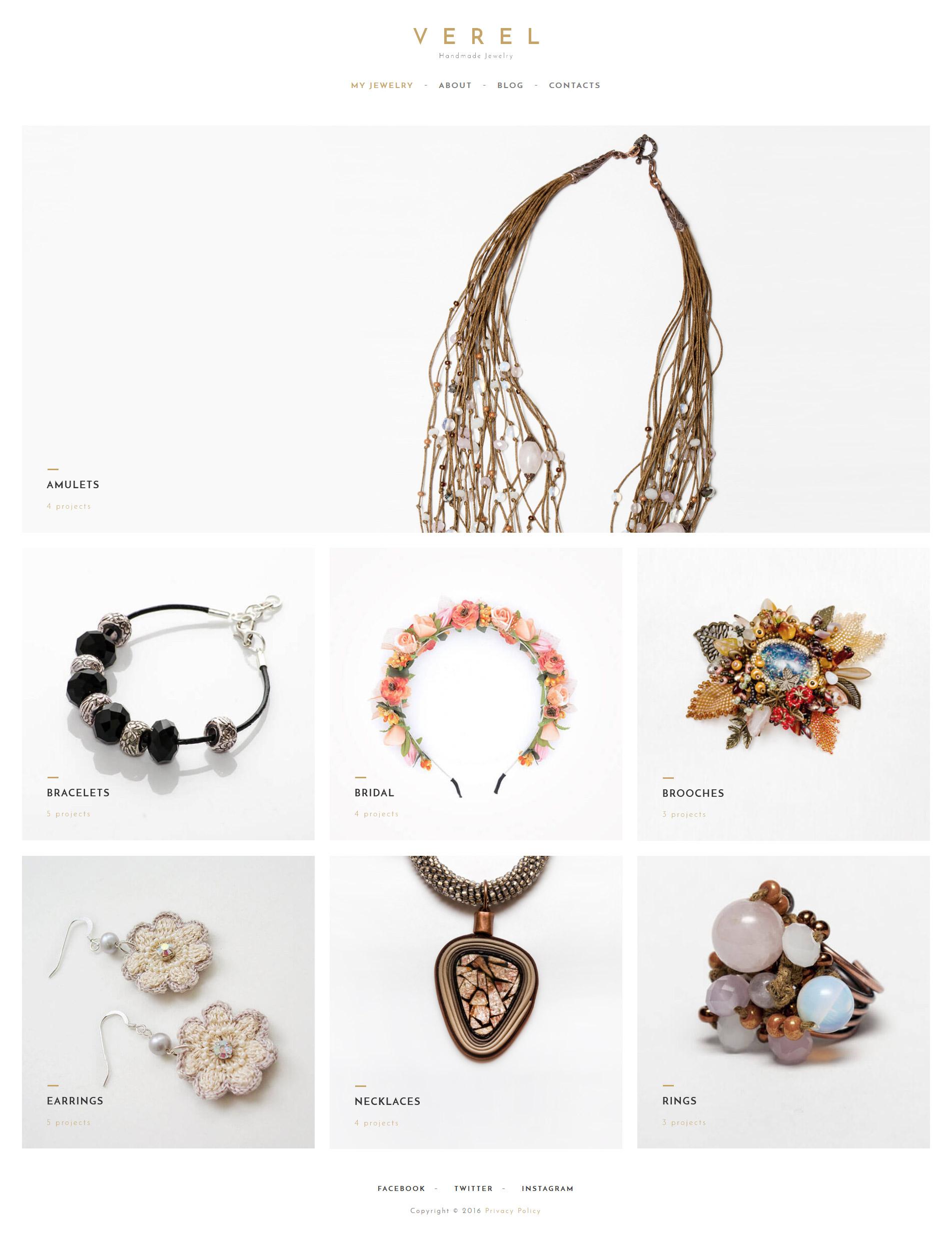 Responsivt Verel - Handmade Jewelry WordPress-tema #61346