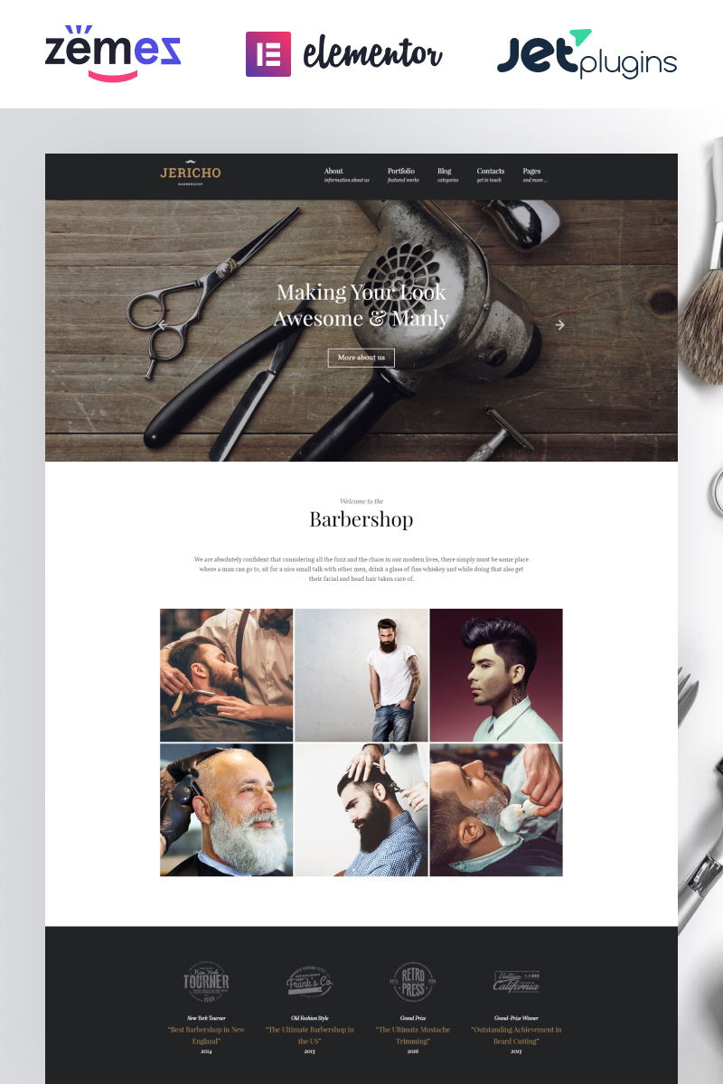 Responsywny motyw WordPress Jericho - Barber Shop Modern #61382