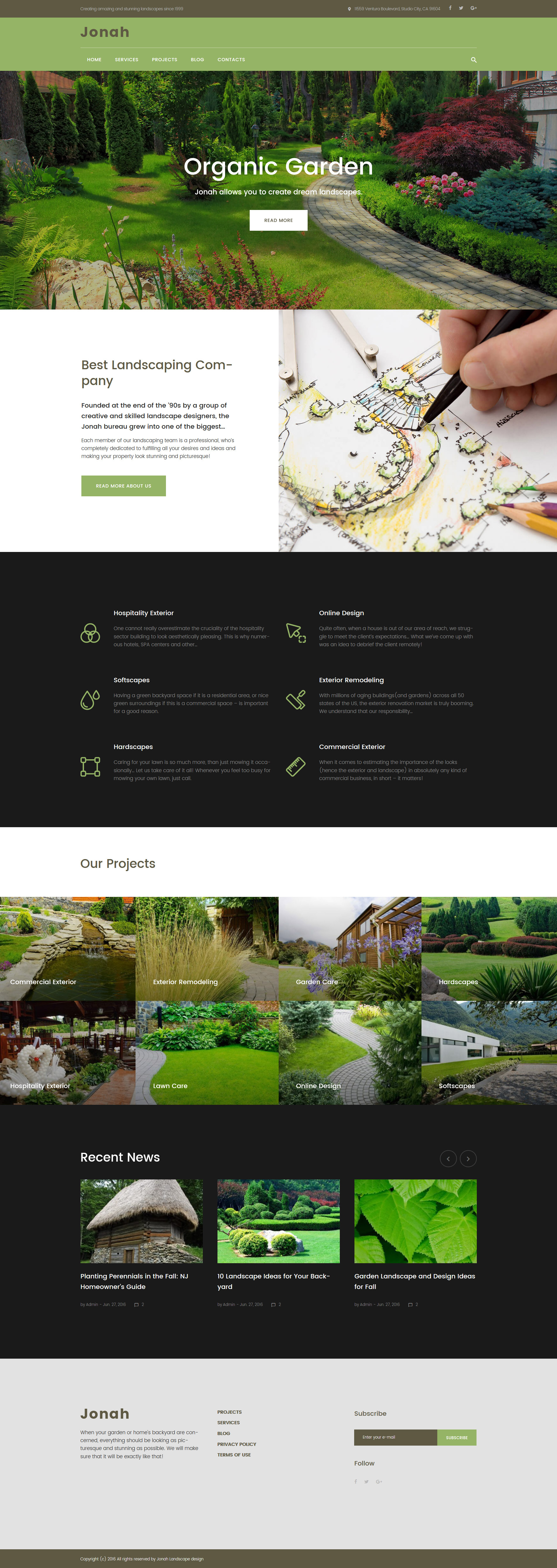 Responsywny motyw WordPress Jonah - Landscape Design and Lawn Mowing #61319