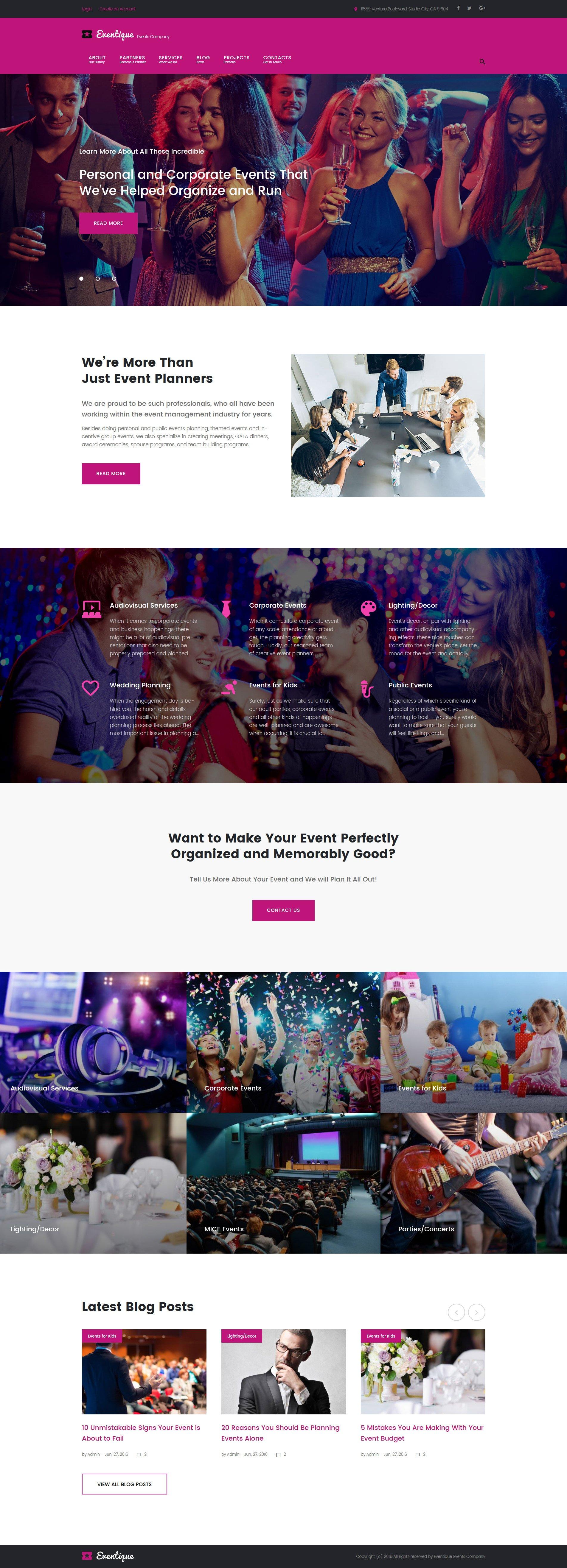"Responzivní WordPress motiv ""Eventique - events company"" #61322"
