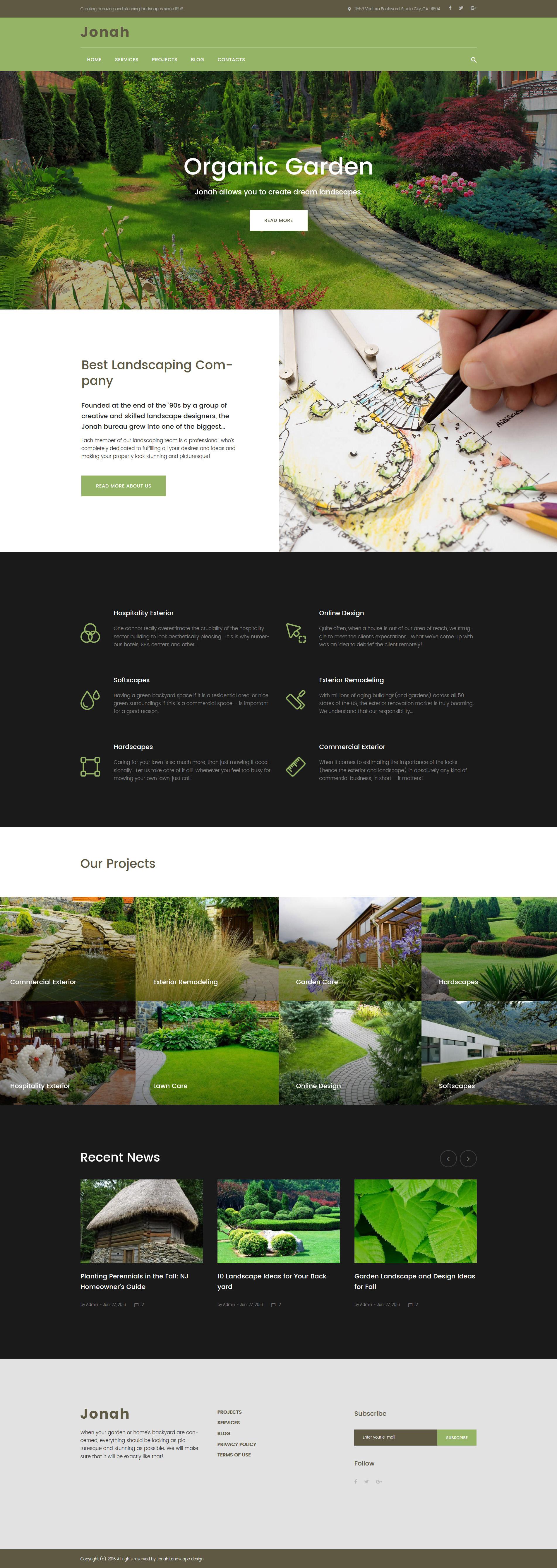 "Responzivní WordPress motiv ""Jonah - Landscape Design and Lawn Mowing"" #61319"