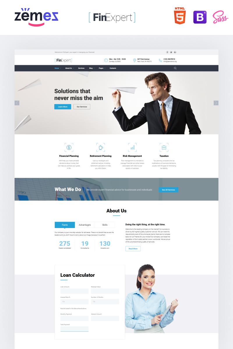 Reszponzív Financial Advisor Responsive Weboldal sablon 61389