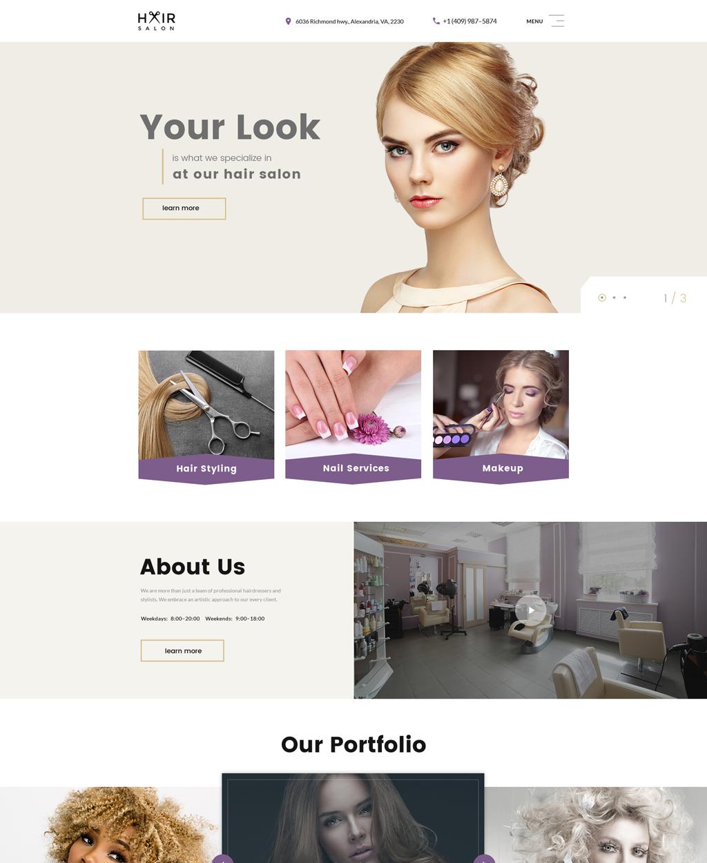Reszponzív Hair Salon Multipage Weboldal sablon 61396