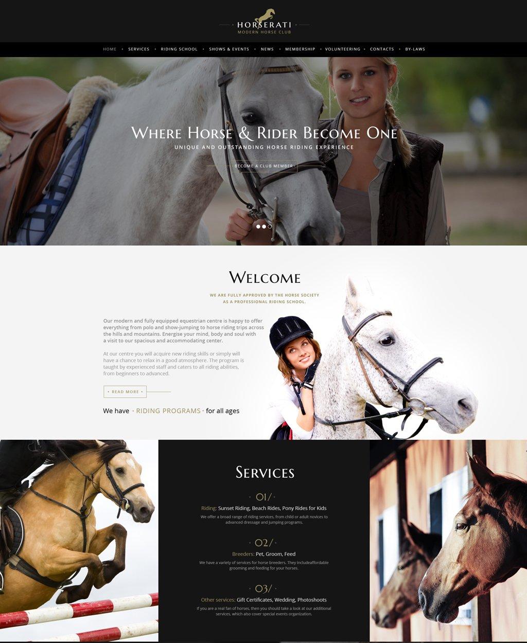 Reszponzív Horserati - Horse Club Multipage Weboldal sablon 61369