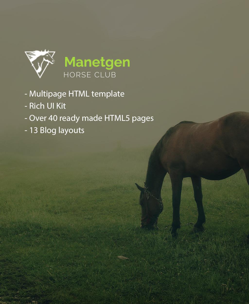 Reszponzív Manetgen - Egy többoldalas reszponzív lovaglás Weboldal sablon 61392