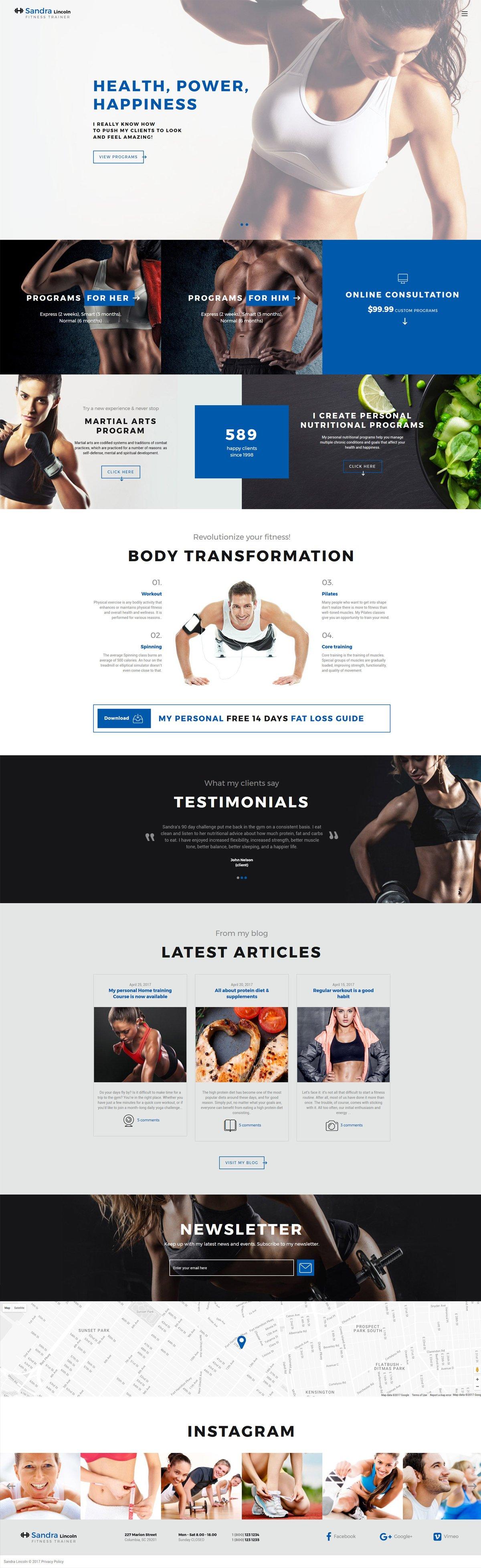 Reszponzív Sandra Lincoln - Personal Fitness Trainer Responsive Weboldal sablon 61358